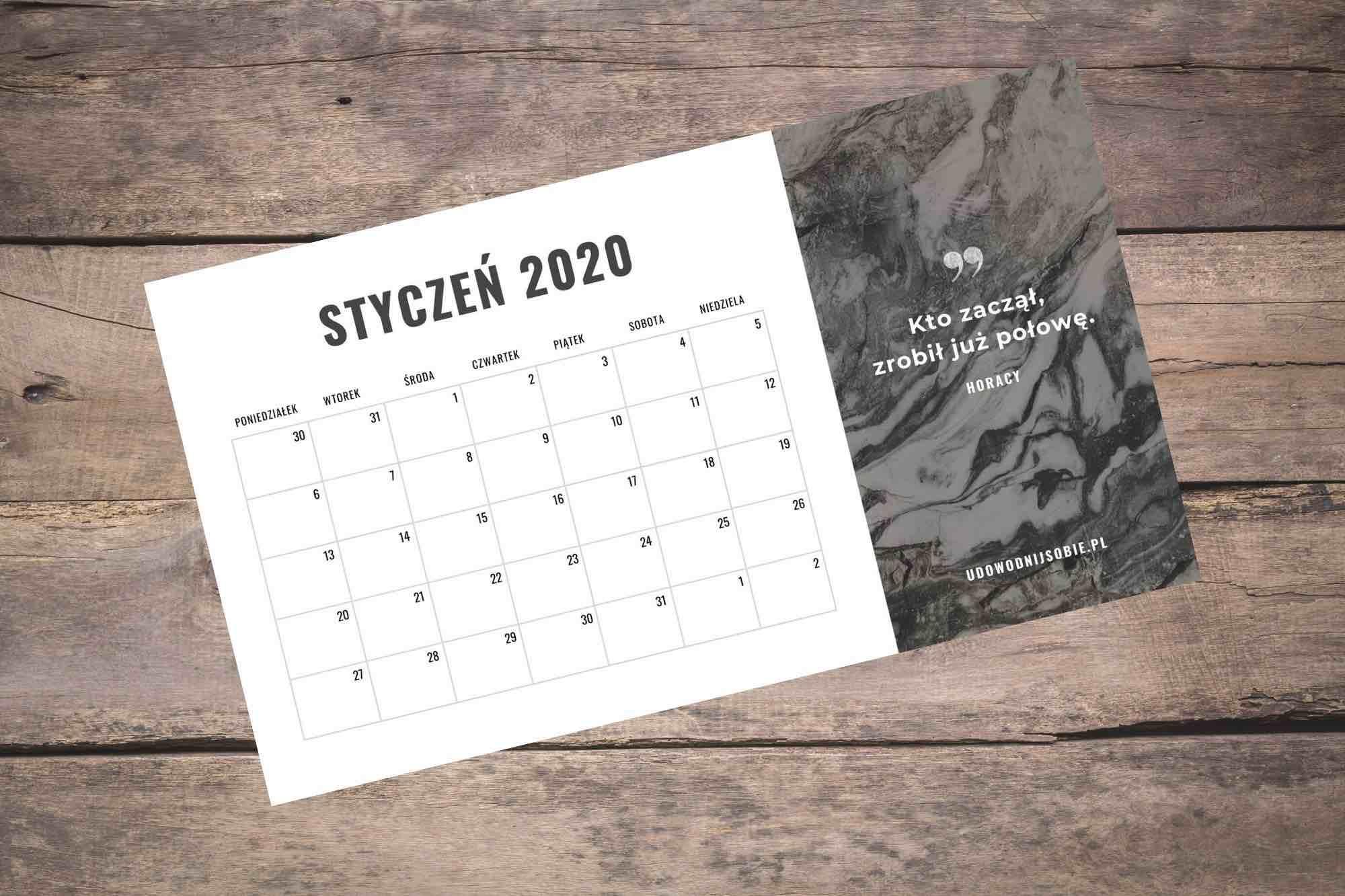 Pobierz kalendarz 2020 za darmo