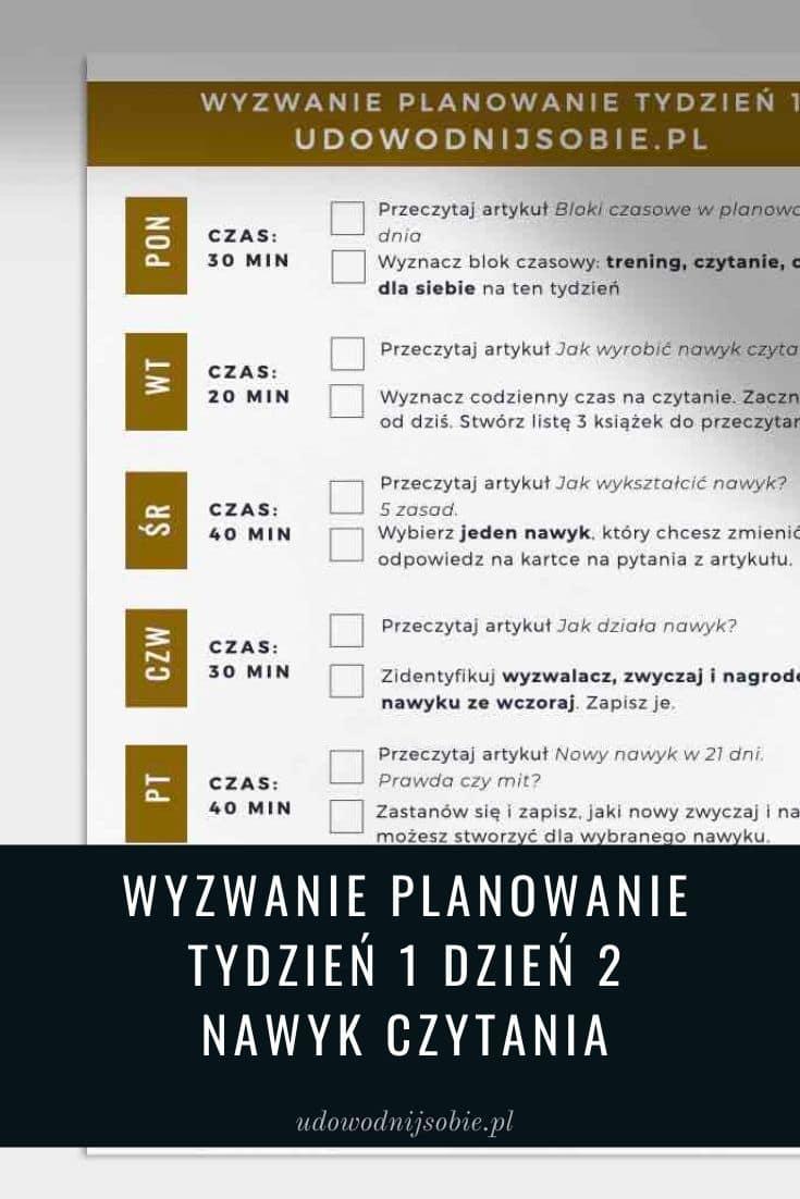 Wyzwanie Planowanie dzień 2 nawyk czytania